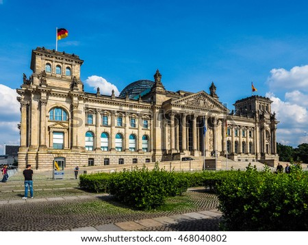 BERLIN, GERMANY - CIRCA JUNE 2016: Reichstag houses of parliament (HDR)