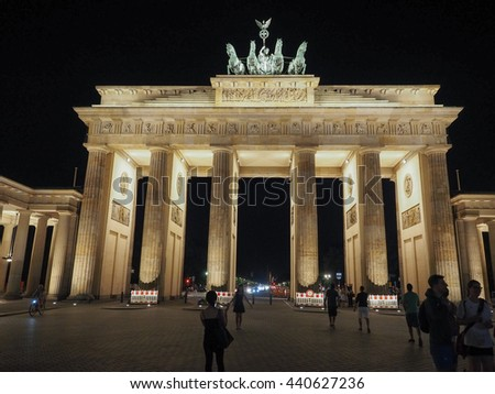 BERLIN, GERMANY - CIRCA JUNE 2016: Tourists at Brandenburger Tor (meaning Brandenburg Gate) at night
