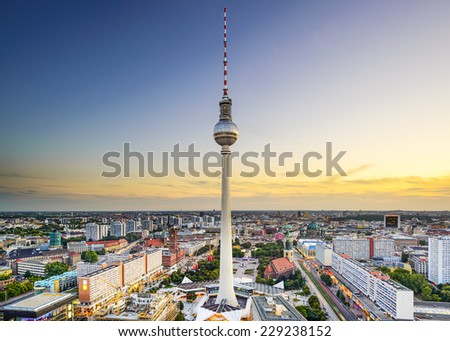 Berlin, Germany city skyline at Alexanderplatz. - stock photo