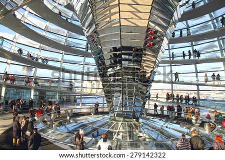 BERLIN GERMANY-DECEMBER 6:the dome on the roof of the Reichstag,Parliament building, on Dec 6, 2012 in Berlin, Germany - stock photo