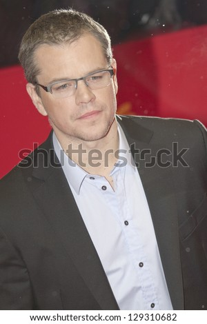 BERLIN, GERMANY - FEBRUARY 08: Actor Matt Damon attends 'Promised Land' Premiere during the 63rd Berlinale International Film Festival at Berlinale Palast on February 8, 2013 in Berlin, Germany. - stock photo