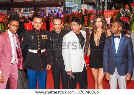 Berlin, Germany - February 16, 2016  - Actors Darrell Britt-Gibson, Johnny Ortiz, Military advisor Daniel Torres, Rafi Pitts and actress Pollyanna Uruena attend the 'Soy Nero' premiere on 66 Berlinale - stock photo