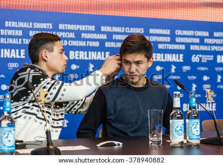 Berlin, Germany - February 16, 2016  - actors  Madiyar Aripbay and Omar Adilov attend the 'The Wounded Angel' (Ranenyy Angel) press conference during the 66th Berlinale International Film Festival
