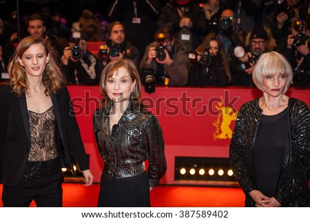 Berlin, Germany - February 13, 2016 - Actress Edith Scob, director Mia Hansen-Love and Isabelle Huppert attend the 'Things to Come' (L'avenir) premiere during the 66th Berlinale Film Festival - stock photo
