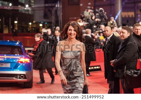 BERLIN, GERMANY - FEBRUARY 05, 2015: Actress Iris Berben attends the 'Nobody Wants the Night' (Nadie quiere la noche) Opening Night premiere during the 65th Berlinale International Film Festival  - stock photo