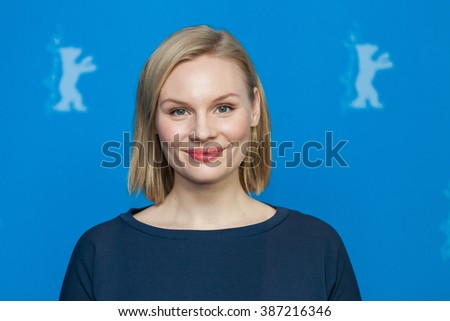 """Berlin, Germany - February 13, 2016 - actress Rosalie Thomass attends the photocall """"Grusse aus Fukushima"""" (Fukushima, mon amour) premiere during the 66th Berlinale International Film Festival - stock photo"""