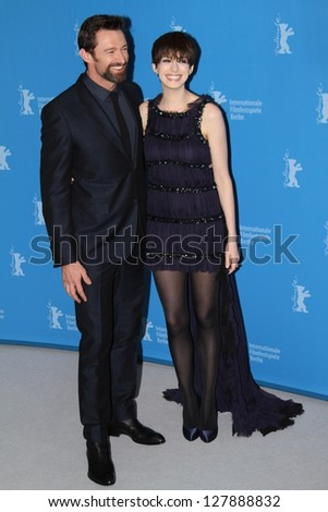 BERLIN, GERMANY - FEBRUARY 09: Anne Hathaway and Hugh Jackman attend the 'Les Miserables' Photocall during the 63rd Berlinale Film Festival at Grand Hyatt Hotel on February 9, 2013 in Berlin, Germany - stock photo