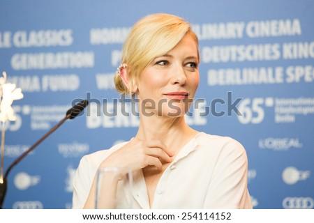 BERLIN, GERMANY - FEBRUARY 13: Cate Blanchett, 'Cinderella' press conference, 65th Berlinale International Film Festival at Grand Hyatt Hotel on February 13, 2015 in Berlin, Germany - stock photo