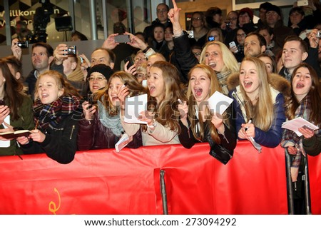 BERLIN, GERMANY - FEBRUARY 14:  Fans  attend the Closing Ceremony of the 65th Berlinale International Film Festival on February 14, 2015 in Berlin, Germany. - stock photo