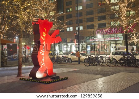 BERLIN, GERMANY - FEBRUARY 7 :  First Bear statue appeared in 2001 and since that Berlin Bears became the symbol of city. Statue of one of the numerous Bears on Berlin streets on FEBRUARY 7, 2013.