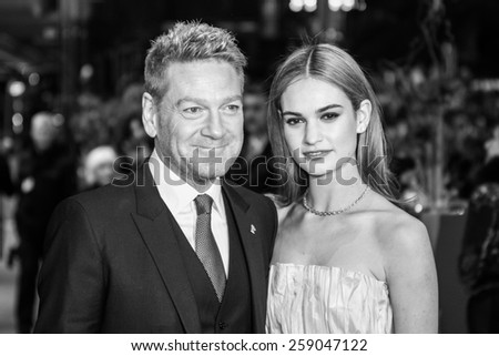BERLIN, GERMANY - FEBRUARY 13: Kenneth Branagh, Lily James. 'Cinderella' premiere during the 65th Berlinale Film Festival at Berlinale Palace on February 13, 2015 in Berlin, Germany. - stock photo