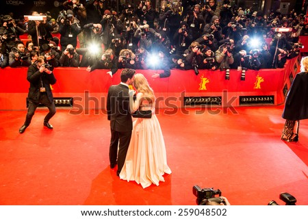 BERLIN, GERMANY - FEBRUARY 13, 2015: Lilly James and Richard Madden attend the 'Cinderella' premiere during the 65th Berlinale International Film Festival at Berlinale Palace - stock photo