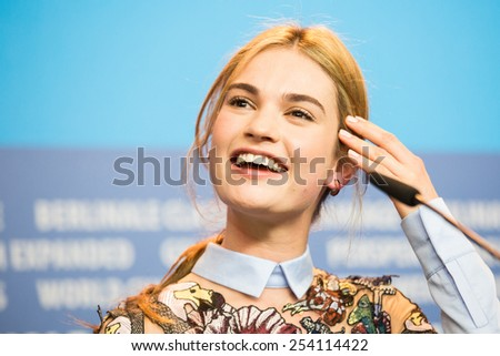 BERLIN, GERMANY - FEBRUARY 13: Lily James, 'Cinderella' press conference, 65th Berlinale International Film Festival at Grand Hyatt Hotel on February 13, 2015 in Berlin, Germany - stock photo