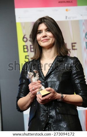 BERLIN, GERMANY - FEBRUARY 14: Malgorzata Szumowska  the best director poses at the press conference during the 65th Berlinale Festival at Hyatt Hotel on February 14, 2015 in Berlin, Germany.  - stock photo