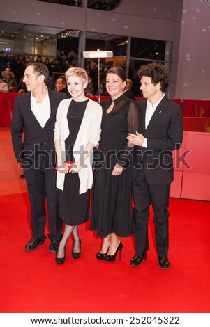 BERLIN, GERMANY - FEBRUARY 10: Merab Ninidze, Viktoriya Korotkova, Anastasia Melnikova and Louis Franck on 'Under Electric Clouds' (Pod electricheskimi oblakami) premiere during the 65th Berlinale