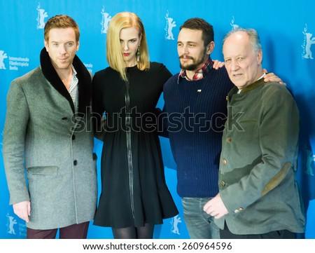 BERLIN, GERMANY - FEBRUARY 06: Nicole Kidman, Damian Lewis, James Franco, Werner Herzog, photocall 'Queen of the Desert'. 65th Film Festival at Hyatt Hotel on February 6, 2015 in Berlin, Germany. - stock photo
