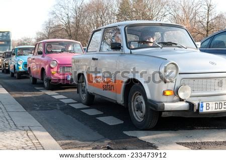 BERLIN, GERMANY - FEBRUARY 7, 2011: queue of Trabant cars  - stock photo