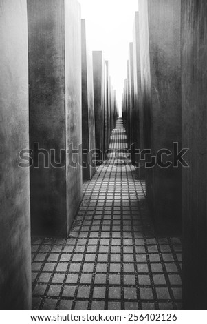 BERLIN, GERMANY - FEBRUARY 20: The Memorial to the Murdered Jews of Europe also known as the Holocaust Memorial in Berlin on February 20, 2015. - stock photo