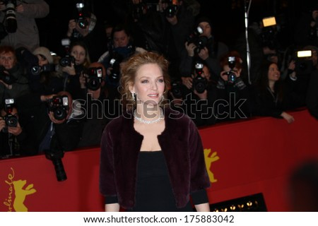 BERLIN, GERMANY - FEBRUARY 09: Uma Thurman attends the 'Nymphomaniac Volume I (long version)' premiere during 64th Berlinale Film Festival at Berlinale Palast on February 9, 2014 in Berlin, Germany. - stock photo