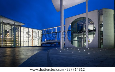 BERLIN, GERMANY, January 10, 2014: night view of Marie-Elisabeth-Luders-Haus and Paul Loebe House (left) modern building in Mitte district is part of Bundestag - Germany