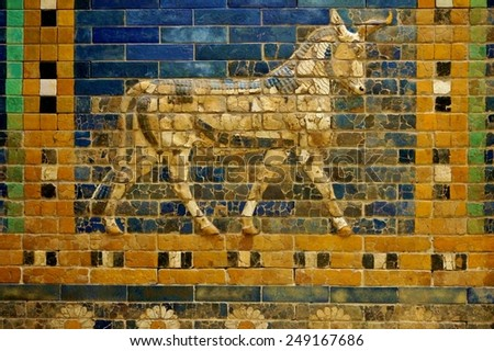 BERLIN, GERMANY --22 JANUARY 2015-- The Pergamon Museum in Berlin, which houses monumental exhibits such as Babylon's Ishtar Gate and its colorful ceramic motifs, is undergoing renovations until 2020.