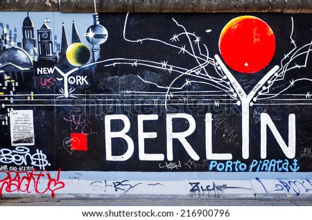 BERLIN, GERMANY- JULY 31, 2014: Berlin Wall was a barrier constructed starting on 13 August 1961. East Side Gallery is an international memorial for freedom. JULY 31, 2014 in Berlin  - stock photo