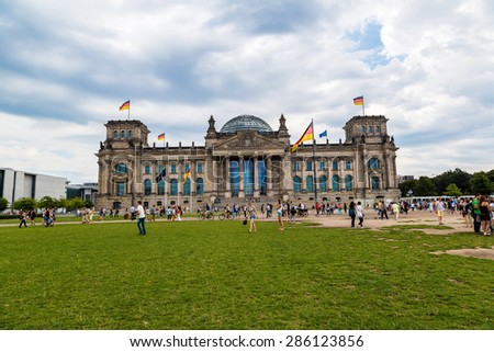 BERLIN, GERMANY - JULY 3: The Reichstag building in Berlin, Germany on July 3, 2014 It was opened in 1894 as a Parliament of the German Empire