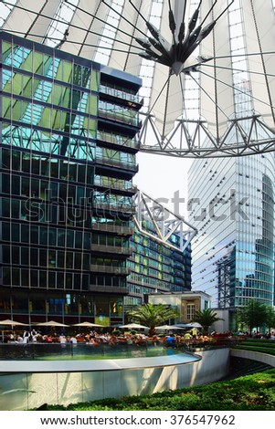 BERLIN, GERMANY - JULY 26, 2012: The Sony Center is a building complex. Ensemble of buildings at Potsdamer Platz in the heart of the German capital, one of the symbols of the new Berlin.