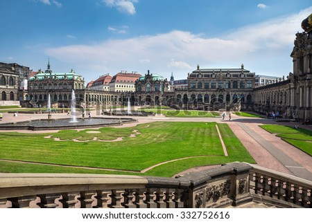 Berlin, Germany - July 05, 2015: Zwinger Palace, a royal palace since the 17th century in Dresden, Germany. Rebuilt after the second world war, the palace is now the most visited monument in Dresden.