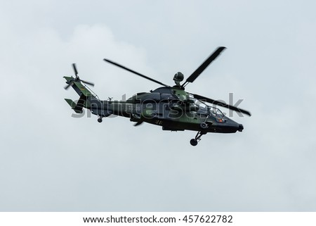 BERLIN, GERMANY - JUNE 01, 2016: Attack helicopter Airbus Helicopters Tiger. Exhibition ILA Berlin Air Show 2016