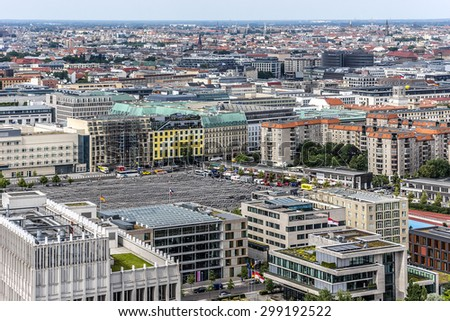 BERLIN, GERMANY - JUNE 16, 2014: Berlin Skyline City Panorama with blue sky. - stock photo
