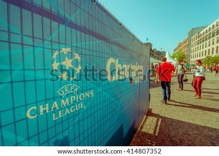 BERLIN, GERMANY - JUNE 06, 2015: Big signal of the final match in Berlin, Champions league. Barcelona vs Juventus - stock photo