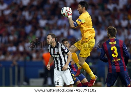 BERLIN, GERMANY- JUNE  2015: Buffon in action during Uefa Champions League Final football match between Juventus vs Barcellona at the Olympiastadion  on june 6, 2015 in Berlin.