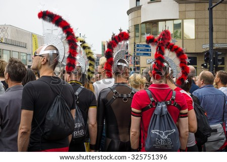 BERLIN, GERMANY - JUNE 27, 2015: Christopher Street Day. The annual European LGBT celebration and demonstration held in Berlin for the rights of LGBT people, and against discrimination and exclusion.