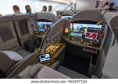 BERLIN, GERMANY - JUNE 02, 2016: Interior of first class of the world's largest aircraft Airbus A380. Emirates Airline. Exhibition ILA Berlin Air Show 2016