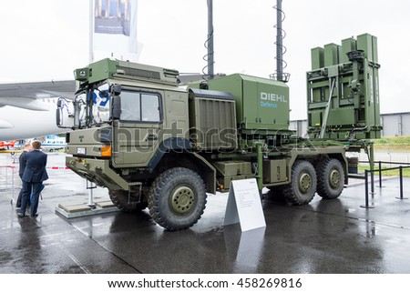BERLIN, GERMANY - JUNE 01, 2016: Launching station IRIS-T SL on the basis of vehicle MAN SX44. Diehl Defence. Exhibition ILA Berlin Air Show 2016