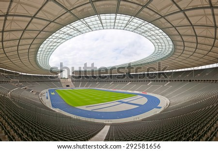BERLIN, GERMANY - JUNE 28, 2012: Panoramic view of the Olympia Stadium, built for the 1936 Summer Olympics. Berlin, Germany