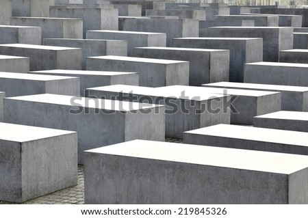 BERLIN, GERMANY - MARCH 30, 2014: Architectural detail of the Holocaust museum in Berlin, Germany - stock photo