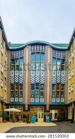 BERLIN, GERMANY, MARCH 12, 2015: complex of nine courtyards hidden among tall buildings was transformed into tranquil zone with shops, restaurants and cinema. it is called hackesche hofe. - stock photo