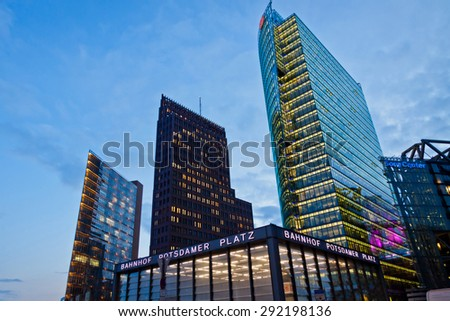 BERLIN, GERMANY - MARCH 4, 2015: Evening view of Potsdamer Platz. The new modern city center and financial district of Berlin - stock photo
