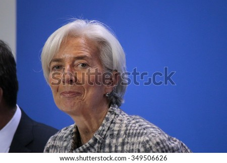 BERLIN, GERMANY - MARCH 11, 2015: Managing Director of the International Monetary Fund (IMF), Christine Lagarde at a press conference after a meeting in the Chanclery, Berlin. - stock photo