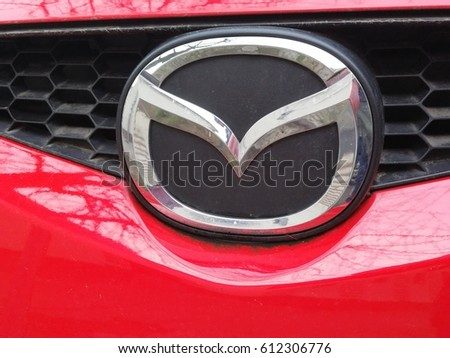 Berlin, Germany: March 30, 2017: Mazda logo. Mazda Motor Corporation is a Japanese multinational automaker founded in 1928