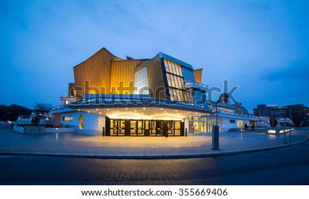 BERLIN, Germany - March 24, 2014: The Berliner Philharmonie concert hall designed by German architect Hans Scharoun in 1961 is a masterpiece of modern architecture
