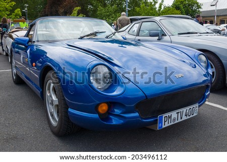 BERLIN, GERMANY - MAY 17, 2014: A two-seater convertible sports car TVR Chimaera. 27th Oldtimer Day Berlin - Brandenburg