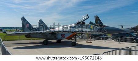 BERLIN, GERMANY - MAY 21, 2014: Air superiority fighter, multirole fighter Mikoyan MiG-29. Polish Air Force. Exhibition ILA Berlin Air Show 2014 - stock photo