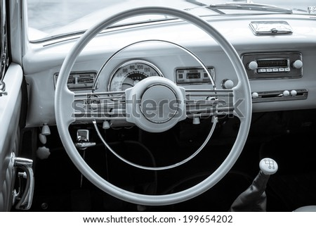 BERLIN, GERMANY - MAY 17, 2014: Cabin of the full-size luxury car BMW 502 convertible. Toning. 27th Oldtimer Day Berlin - Brandenburg  - stock photo