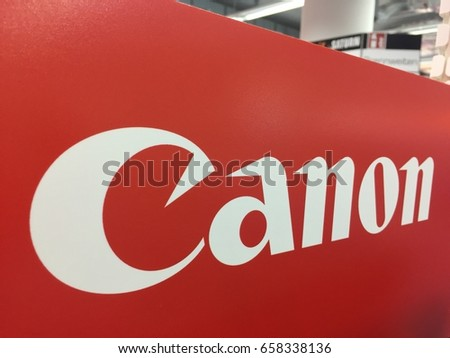 Berlin, Germany - May 22, 2017: Canon shop. That is a Japanese multinational corporation manufacturing imaging and optical products, including cameras, camcorders, photocopiers, computer printers