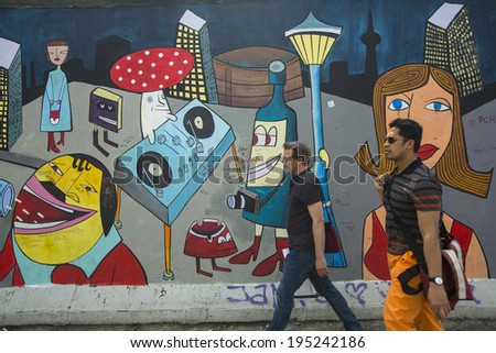 2014 fragment of graffiti on berlin wall at east side gallery it s