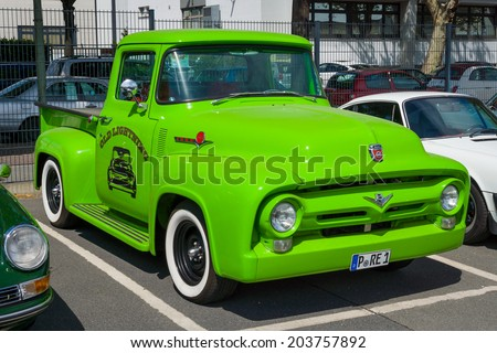 BERLIN, GERMANY - MAY 17, 2014: Full-size pickup truck Ford F-100 (second generation). 27th Oldtimer Day Berlin - Brandenburg  - stock photo