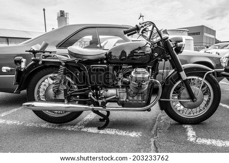 BERLIN, GERMANY - MAY 17, 2014: Italian motorcycle Moto Guzzi V7. Black and white. 27th Oldtimer Day Berlin - Brandenburg